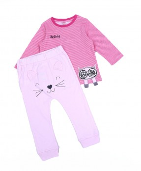 Little Kitten 07 - T-Shirt & Trouser (Girls | 6-24 Bulan)