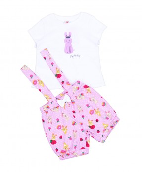 Fluffy Bunny 07 - T-Shirt & Dungaree (Girls | 6-24 Bulan)