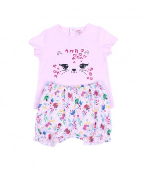 Little Kitten 05 - T-Shirt & Short Pants (Girls | 6-24 Bulan)
