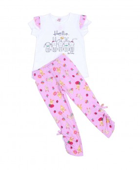 Fluffy Bunny 03 - T-Shirt & Legging (Girls | 6-24 Bulan)